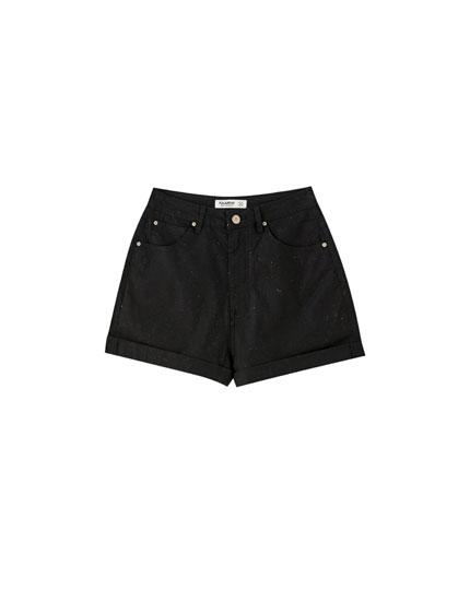 Textured black mom shorts