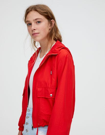 Short colourful nylon jacket