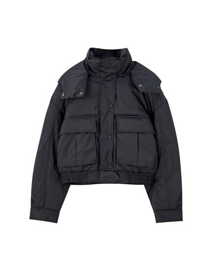 Black utility-style puffer jacket