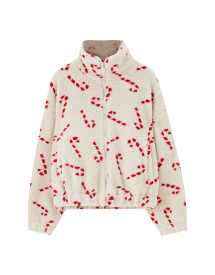 Faux shearling jacket with candy cane print