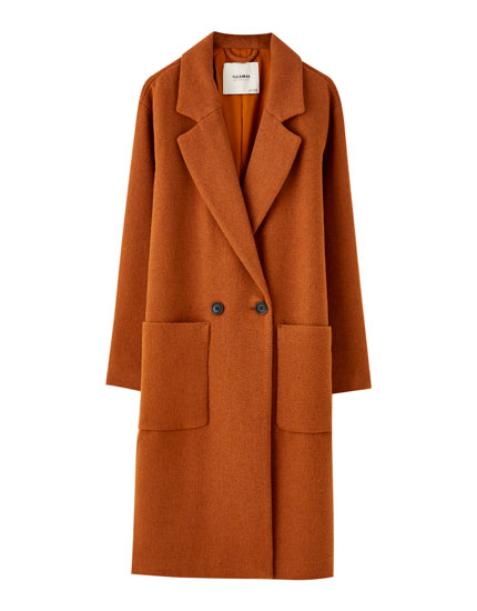 Pockets Coat Synthetic Wool Patch With PkXZiOTu