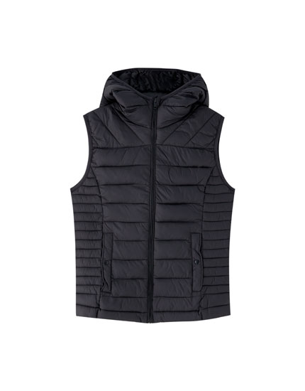 Hooded nylon gilet