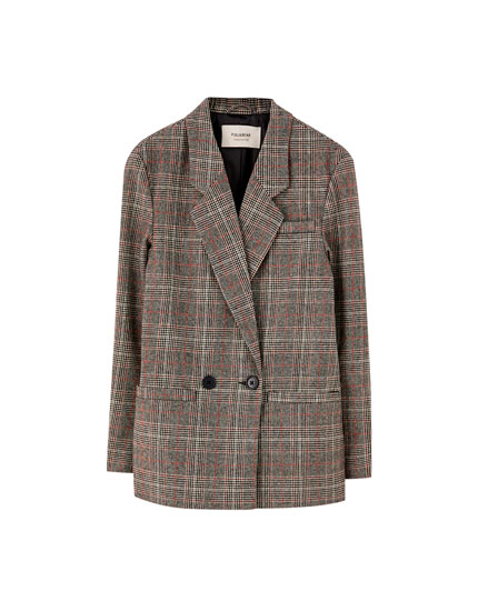 Two-button check blazer