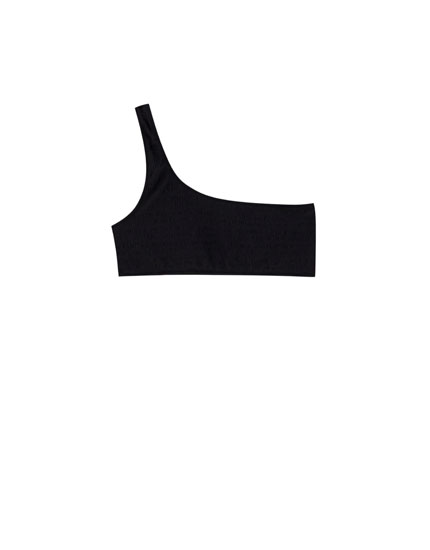 Black asymmetric bikini top