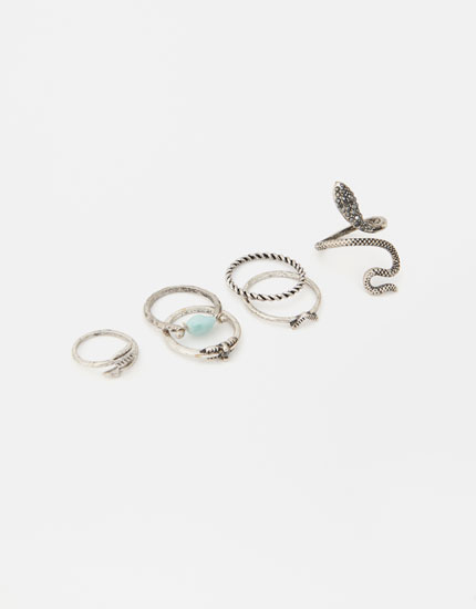 Pack of 6 snake rings