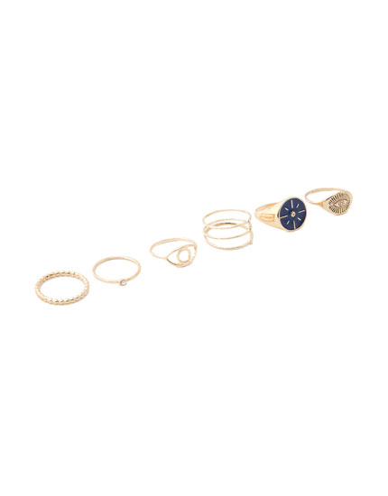Pack of 6 boho eye rings