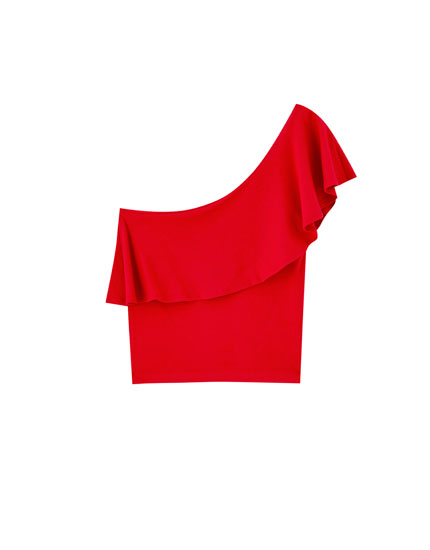 Ruffled T-shirt with asymmetric sleeves