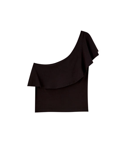 Ruffled T-shirt with asymmetric sleeves