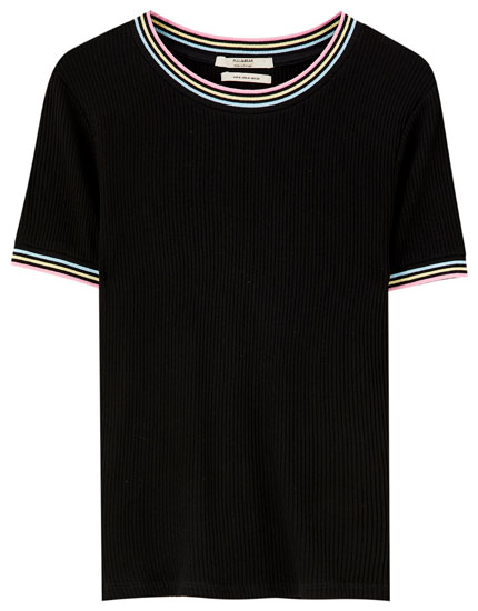 Ribbed T-shirt with colourful trims