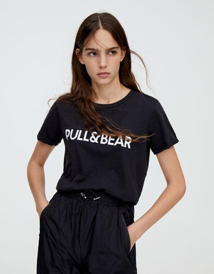 Basic T-shirt med Pull&Bear-logo