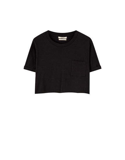 Cropped T-shirt with turn-up sleeves