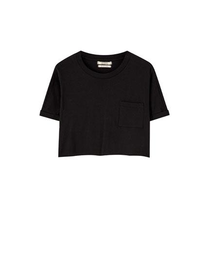 Basic kort t-shirt med oprullet ærme