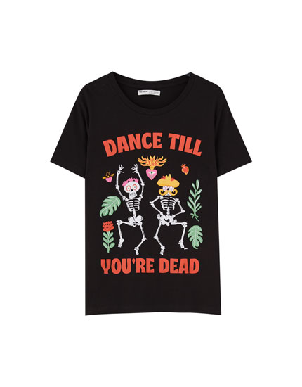 Colourful slogan print T-shirt