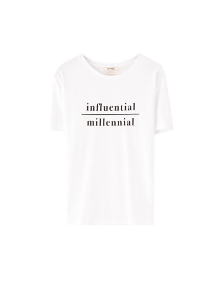 'Influential millennial' slogan T-shirt