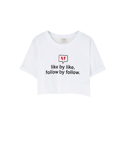 Basic cropped T-shirt with slogan