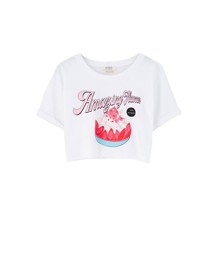 Basic cropped T-shirt with illustration