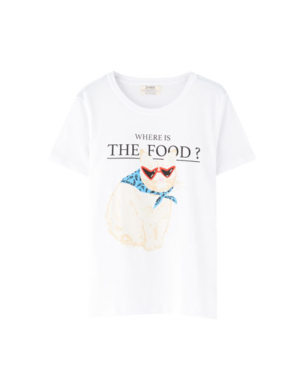 White T-shirt with cat illustration