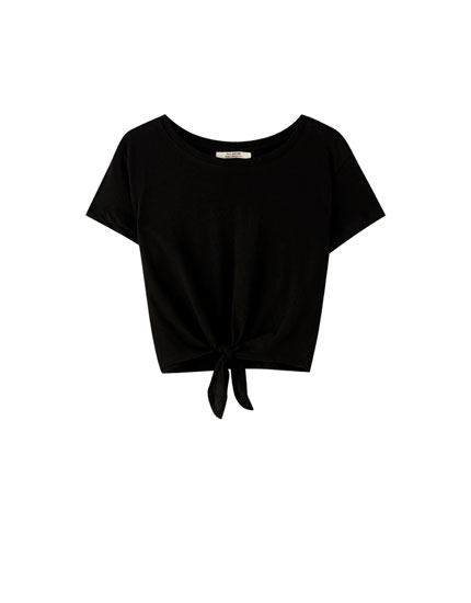 Basic cropped T-shirt with knot