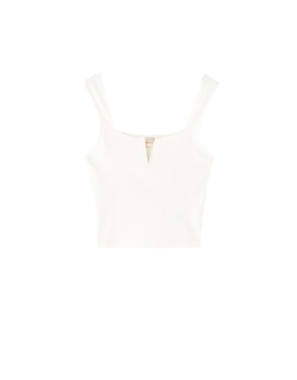 Ribbed wide-strapped vest top