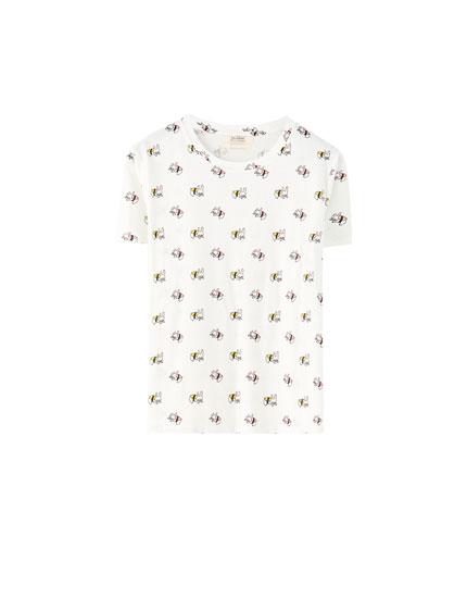 Bunny sushi print T-shirt