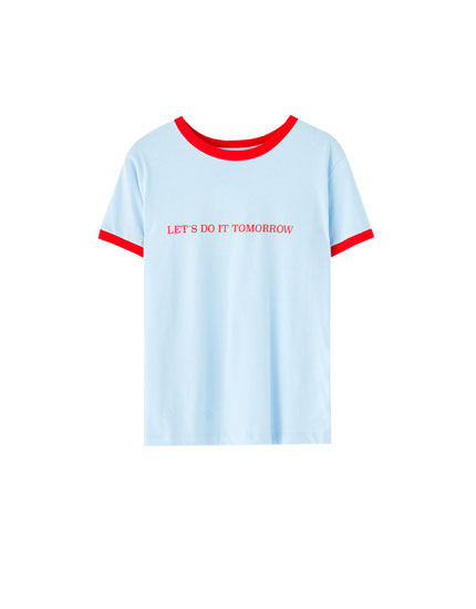 Slogan T-shirt with contrast ribbed trims