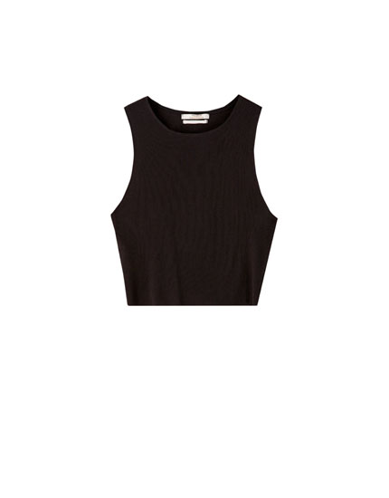 Basic cropped T-shirt with seams