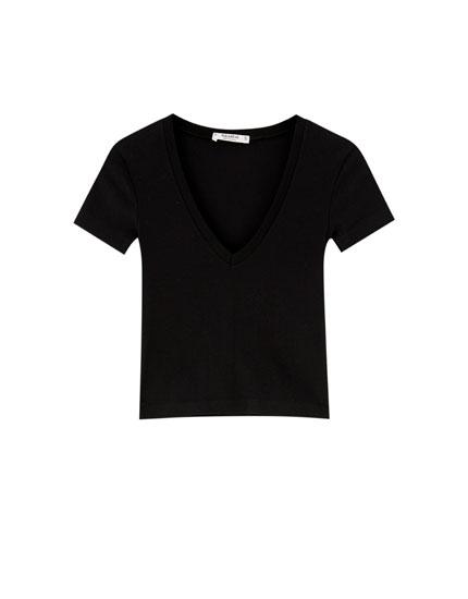 Basic geribd T-shirt met V-hals