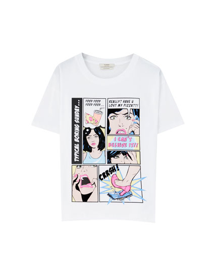 Camiseta cómic manga curta