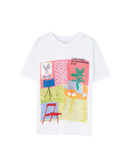 T-shirt with indoor illustration