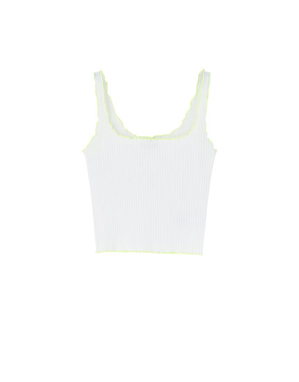 White tank top with neon detail