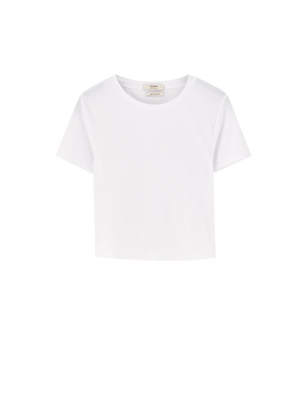 Geripptes Basic-Cropped-Shirt