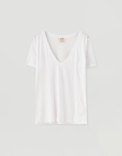 T-shirt col enV coton