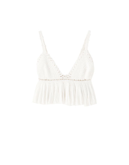 Strappy crochet top with fringe
