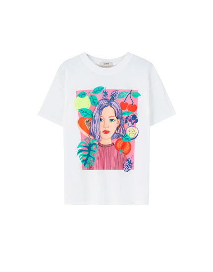 T-shirt blanc fille fruits
