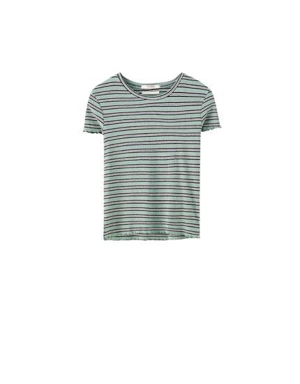T-shirt rayé en maille côtelée