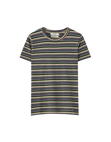 T-shirt with contrast multicoloured stripes