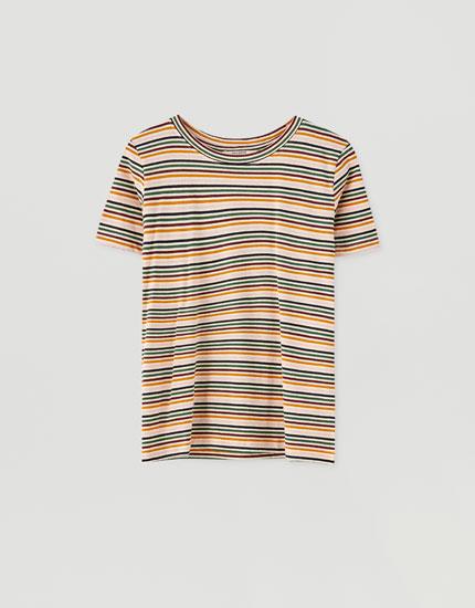 Camiseta rayas multicolor contraste