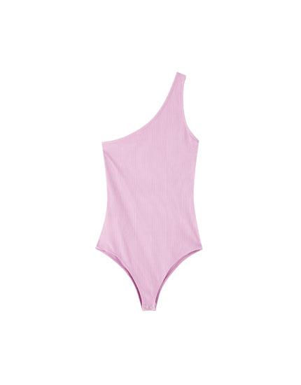 Basic asymmetric strap bodysuit