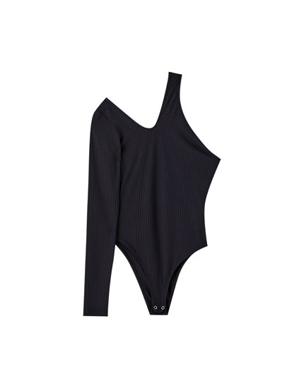Long sleeve asymmetric ribbed bodysuit