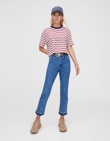 Three-tone striped T-shirt