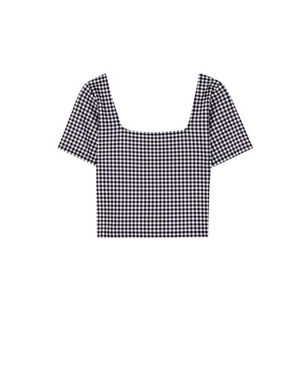 Cropped-Shirt mit Karoprint