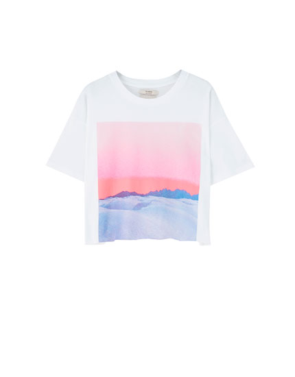 Cropped photographic print T-shirt