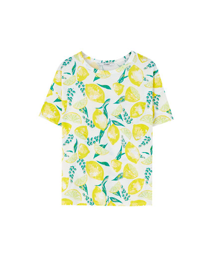 All-over lemon print T-shirt