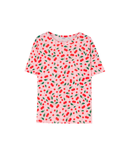 All-over cherry print T-shirt