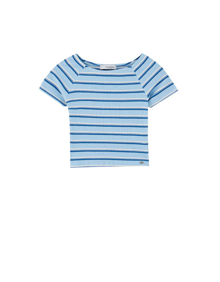 Ribbed striped T-shirt