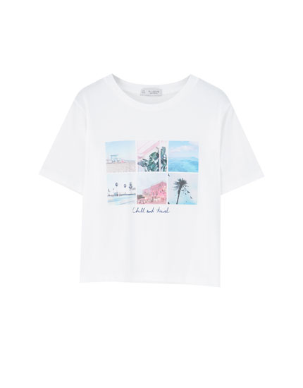 White photographic print T-shirt