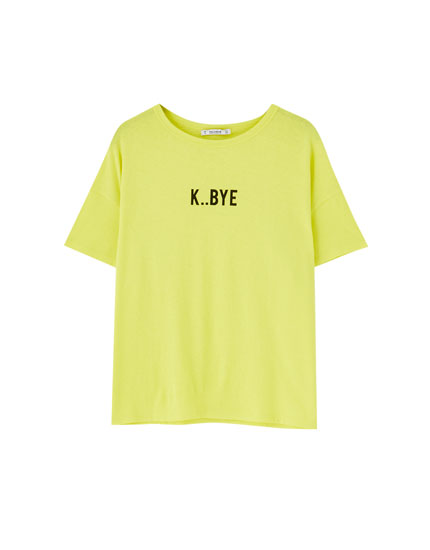 Coloured T-shirt with front slogan