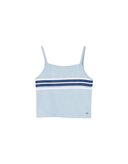 Blue panelled tank top