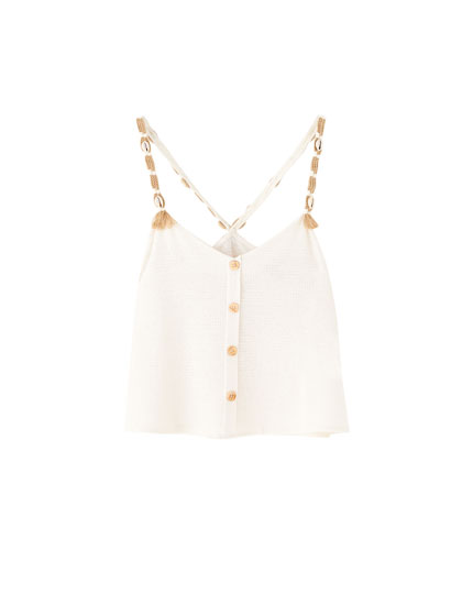 Vest top with seashell strings