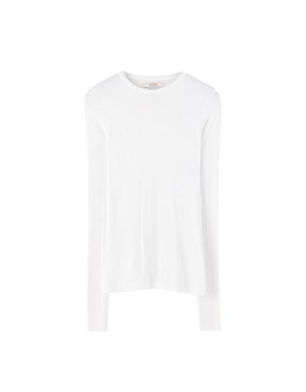 Camiseta básica canalé manga larga